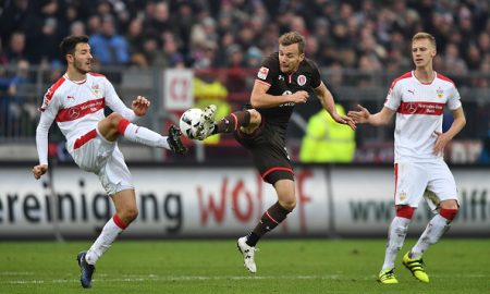 HAMBURG, GERMANY - JANUARY 29:  Anto Grgic of Stuttgart is challenged by Lennart Thy of St. Pauli during the Second Bundesliga match between FC St. Pauli and VfB Stuttgart at Millerntor Stadium on January 29, 2017 in Hamburg, Germany.  (Photo by Stuart Franklin/Bongarts/Getty Images)