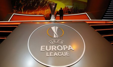 The UEFA Cup trophy is pictured during the draw for the UEFA Europa League football group stage 2015/16, on August 28, 2015 in Monaco on August 28, 2015. AFP PHOTO / VALERY HACHE        (Photo credit should read VALERY HACHE/AFP/Getty Images)