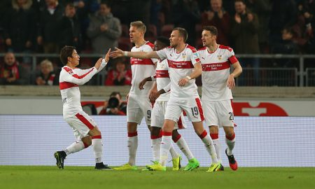STUTTGART, GERMANY - FEBRUARY 06:  Players of Stuttgart celebrate after tthe first goal during the Second Bundesliga match between VfB Stuttgart and Fortuna Duesseldorf at Mercedes-Benz Arena on February 6, 2017 in Stuttgart, Germany.  (Photo by Thomas Niedermueller/Bongarts/Getty Images)
